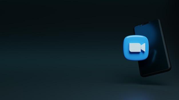 Render 3d del icono de zoom con teléfono móvil