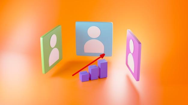 Render 3d de iconos de persona azul, verde y rosa y un gráfico creciente sobre fondo naranja