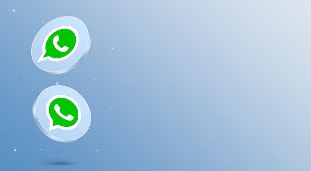 Render 3d de los iconos de whatsapp de redes sociales