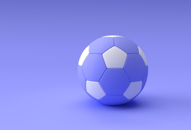 Render 3d de la ilustración de fútbol, balón de fútbol con fondo azul