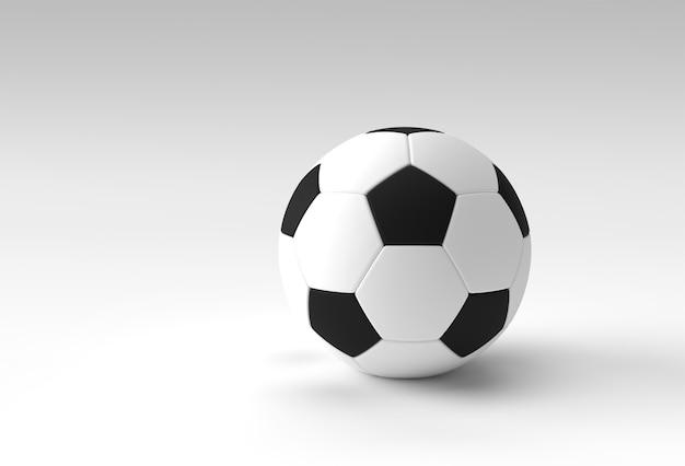 Render 3d de la ilustración de fútbol, balón de fútbol con fondo blanco