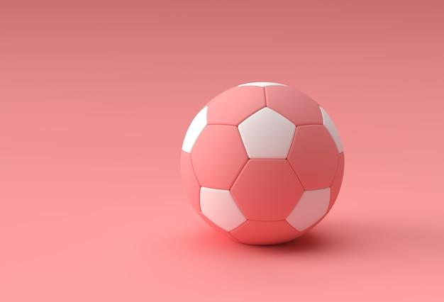 Render 3d de la ilustración de fútbol, balón de fútbol con fondo rosa