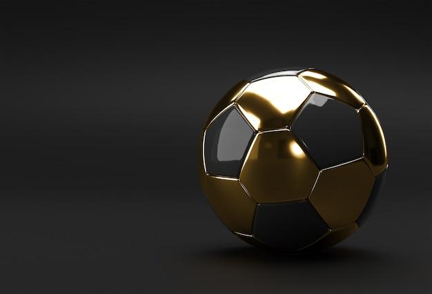 Render 3d de la ilustración de fútbol dorado, balón de fútbol con fondo negro