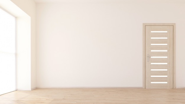 Render 3d de un interior de habitación vacía