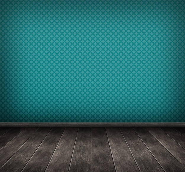 Render 3d del interior con pared azul