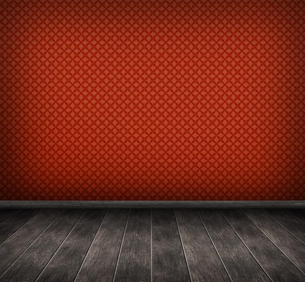 Render 3d del interior con pared roja