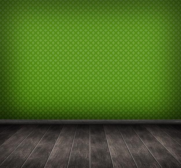 Render 3d del interior con pared verde