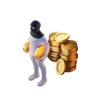 Render 3d de ladrón con monedas de oro.