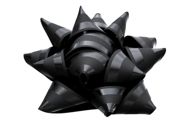 Render 3d de lazo de cinta negro aislado sobre fondo blanco. ilustración 3d de alta calidad