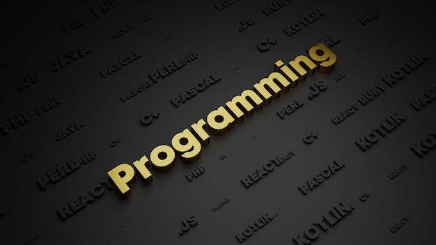 Render 3d de letras de metal dorado de la palabra de programación