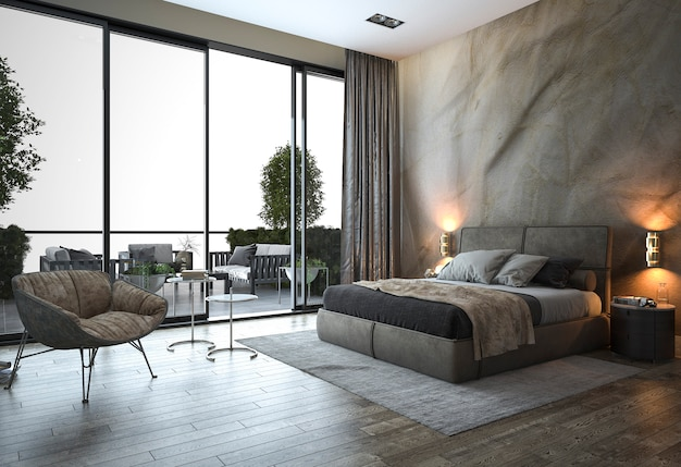 Render 3d loft dormitorio moderno cerca de la vista de la ventana