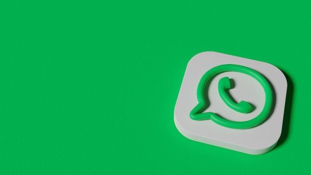 Render 3d logotipo mínimo de whatsapp.