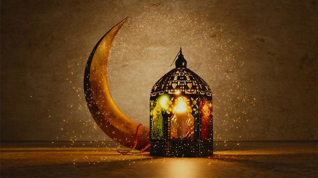 Render 3d de la luna creciente y linterna árabe iluminada