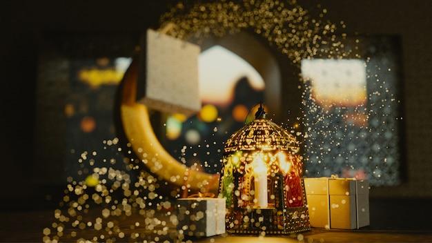 Render 3d de la luna creciente con linterna iluminada y regalos