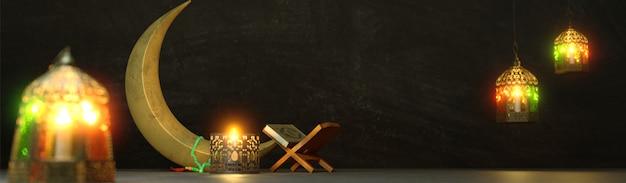 Render 3d de luna creciente con linternas iluminadas