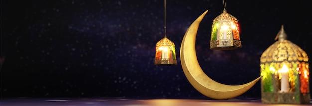 Render 3d de la luna creciente y linternas iluminadas.