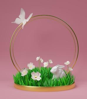 Render 3d de un macizo de flores con césped, flores, un conejito y una mariposa sobre fondo rosa oscuro