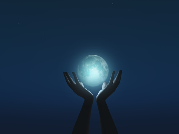 Render 3d de manos femeninas ahuecando la luna