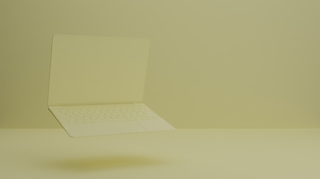 Render 3d de maqueta de portátil / portátil / dispositivo. estudio mínimo. telón de fondo interior para la página de destino