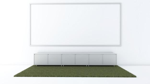 Render 3d de maqueta de sala de estar interior, alfombra y gabinete bajo