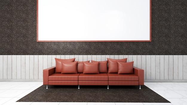 Render 3d de maqueta de sala de estar interior, sofá y alfombra