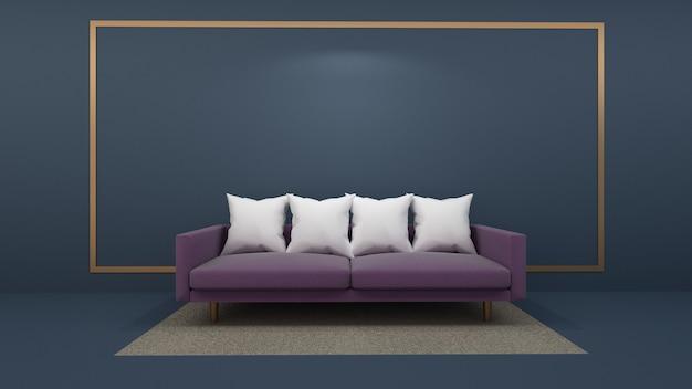 Render 3d de maqueta de salón interior