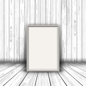 Render 3d de un marco de imagen en blanco en el interior de madera