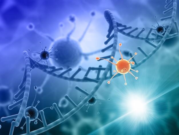 Render 3d de un médico con células de virus atacando una hebra de adn