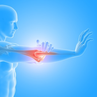 Render 3d de un médico con figura masculina sosteniendo el hueso del codo resaltado