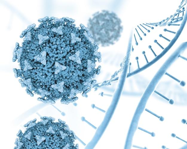 Render 3d de un médico con hebras de adn y células covid 19