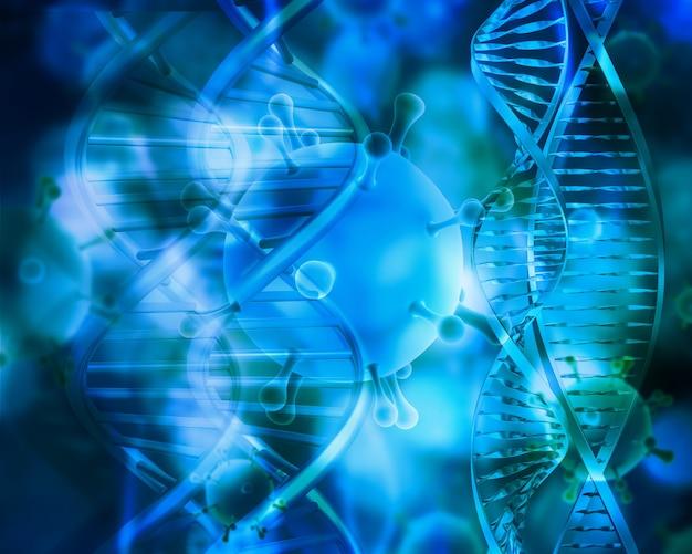 Render 3d de un médico con hebras de adn y células de virus