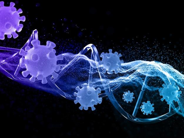 Render 3d de un médico con partículas que fluyen, células de virus y cadena de adn