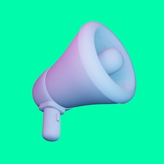 Render 3d megáfono para maqueta de diseños publicitarios premium