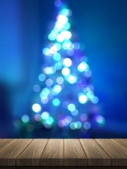 Render 3d de mesa de madera mirando a un árbol de navidad desenfocado