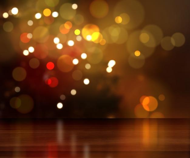 Render 3d de una mesa de madera mirando a un árbol de navidad desenfocado