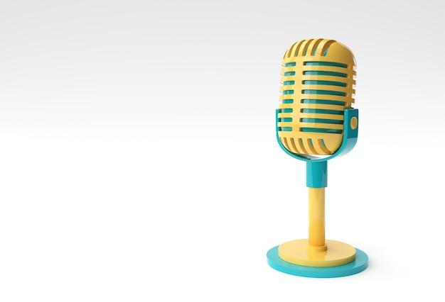 Render 3d micrófono retro en pata corta y soporte, plantilla de modelo de premio de música, karaoke, radio y equipo de sonido de estudio de grabación.
