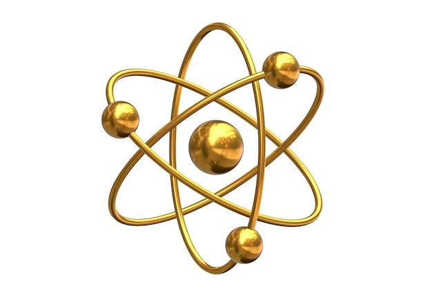 Render 3d del modelo abstracto del átomo aislado sobre fondo blanco. coloreado en oro.