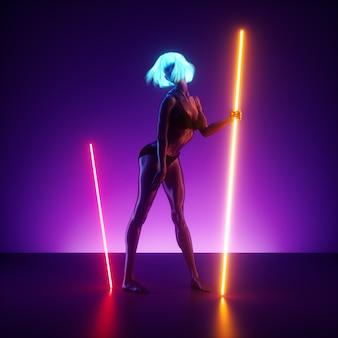 Render 3d, modelo femenino virtual posando, de pie en el escenario sosteniendo líneas brillantes de luz de neón. muñeca maniquí realista.