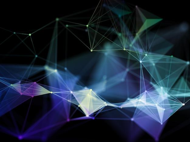 Render 3d de una moderna formación en ciencias de las comunicaciones en red con diseño de plexo
