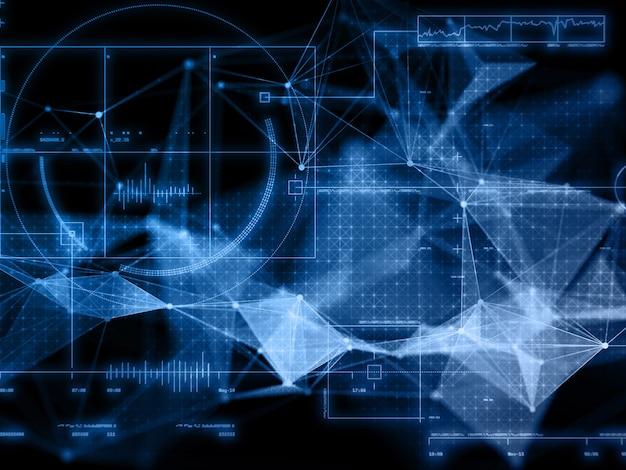 Render 3d de una moderna formación científica en comunicaciones de red con diseño de plexo
