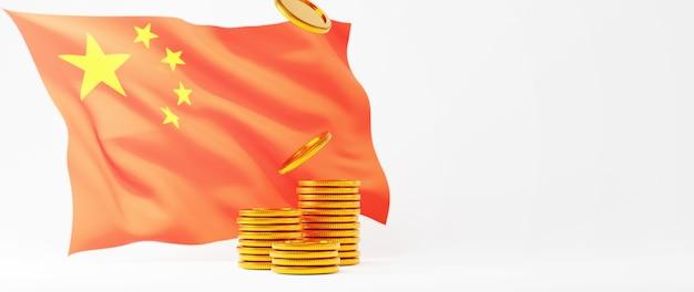 Render 3d de monedas de oro y bandera china. compras en línea y comercio electrónico en concepto de negocio web. transacción segura de pago en línea con teléfono inteligente.
