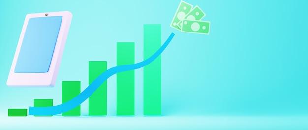Render 3d de móvil y gráfico de barras. compras en línea y comercio electrónico en concepto de negocio web.