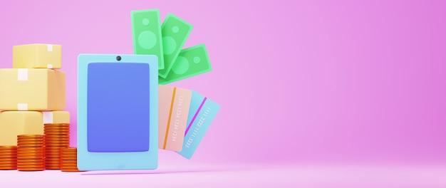 Render 3d de móvil y moneda de oro. compras en línea y comercio electrónico en concepto de negocio web.