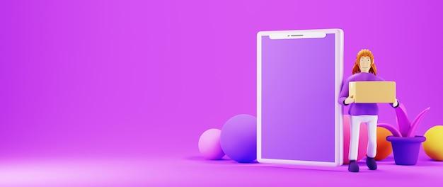 Render 3d de una mujer sosteniendo una caja junto a un teléfono inteligente aislado en un banner de fondo púrpura