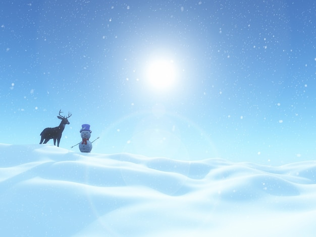 Render 3d de un muñeco de nieve y ciervos en un paisaje de invierno de navidad
