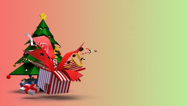 Render 3d de navidad y feliz año nuevo concepto. consiste en árboles de navidad, cajas de regalo y hermosos juguetes que explotan.