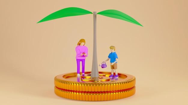 Render 3d de niño y el árbol en monedas de oro. negocios en línea y comercio electrónico en concepto de inversión y compras web. transacción segura de pago en línea con teléfono inteligente.