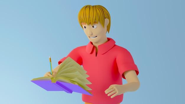 Render 3d de un niño con camisa roja escribiendo en un libro sobre fondo azul.