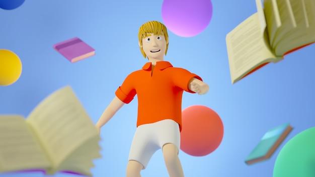 Render 3d de un niño con libros coloridos y pelotas alrededor sobre fondo azul, concepto de educación