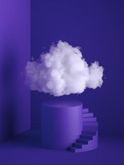 Render 3d de una nube blanca y esponjosa sobre el pedestal del cilindro con escaleras de caracol